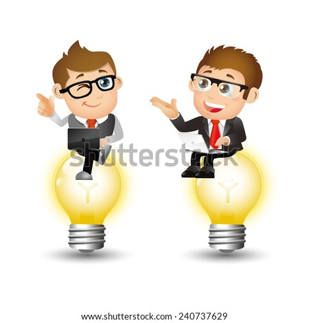 People Set - Business - Businessmen sitting on the light - stock vector