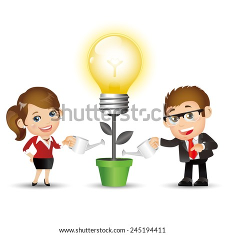 People Set - Business - Businesspeople. New bright ideas - stock vector
