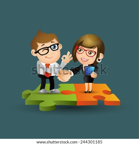 People Set - Business - Businesspeople standing on jigsaw puzzle pieces - stock vector