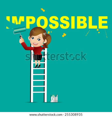 People Set - Business - Businesswoman erasing the word impossible - stock vector