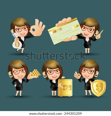 People Set - Business - Businesswoman. finance set. Gold - 1 - stock vector