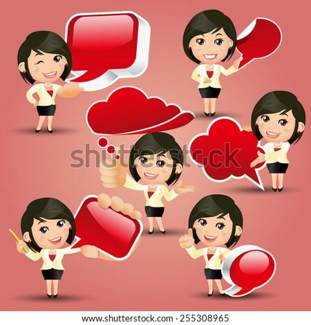 People Set - Business - Businesswoman holding speech bubbles - stock vector