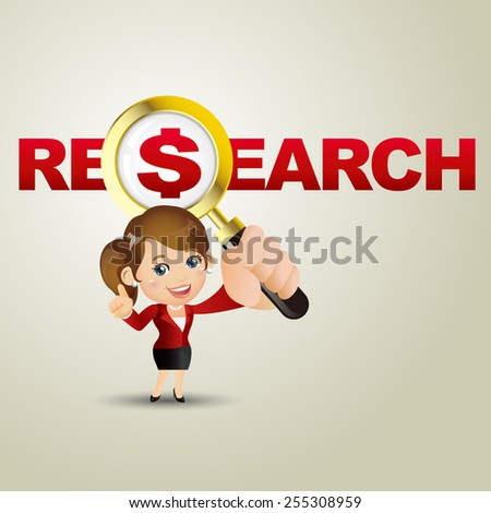 People Set - Business - Businesswoman. Research and dollar - stock vector