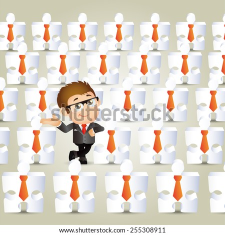 People Set - Business - Concept of businessman and jigsaw puzzle - stock vector