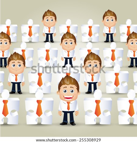 People Set - Business - Concept of businessmen and jigsaw puzzle crowd - stock vector