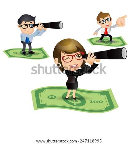 People Set - Business - Money flying. Businesspeople - stock vector