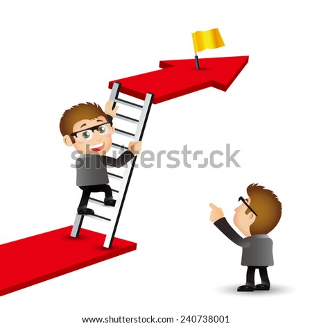 People Set - Business -Office man climbing on ladder to be success - stock vector