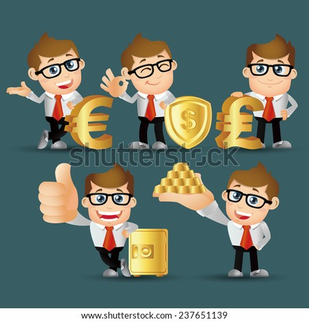 People Set - Business - Office man. finance set. Gold - stock vector