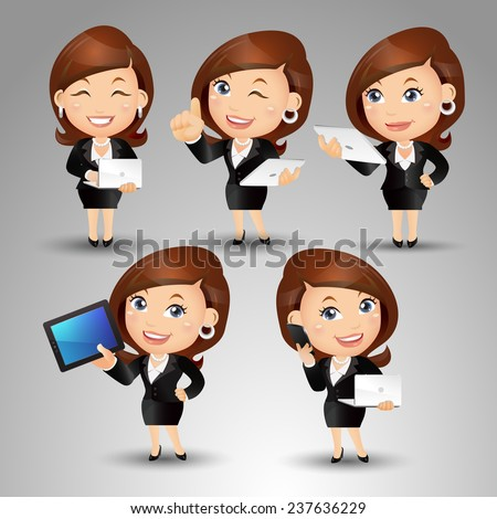 People Set - Business - Office woman standing with the laptop - stock vector