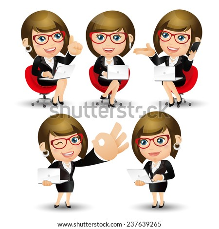 People Set - Business - Office women sitting with the laptop - stock vector