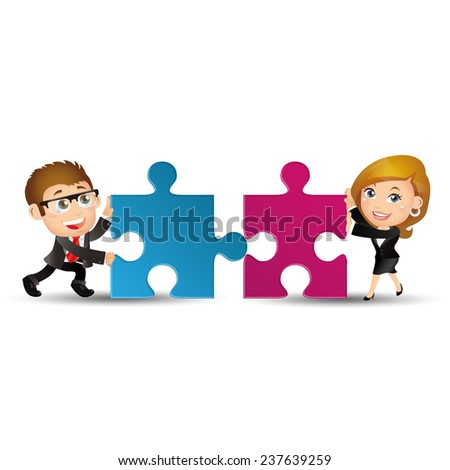 People Set - Business - Two business people are working together to put two puzzles in order to succeed - stock vector