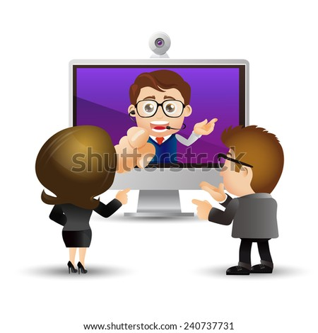 People Set - Business - Video Conference - stock vector