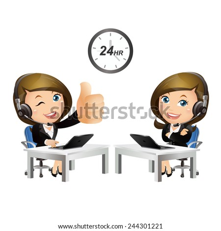 People Set - Business - Woman. Customer support with headphones-2 - stock vector