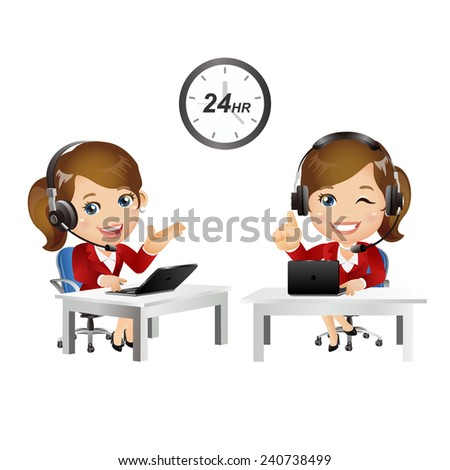 People Set - Business - Women. Customer support with headphones - stock vector