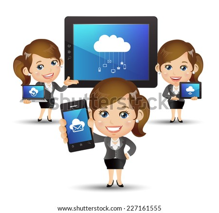 People Set - Cloud computing -Beautiful businesswoman with cloud computing - stock vector