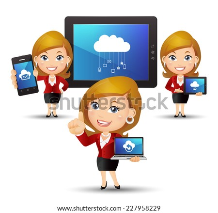 People Set - Cloud computing -Beautiful businesswomen with cloud computing - stock vector