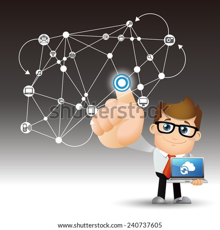 People Set - Cloud computing - cloud computing man - stock vector