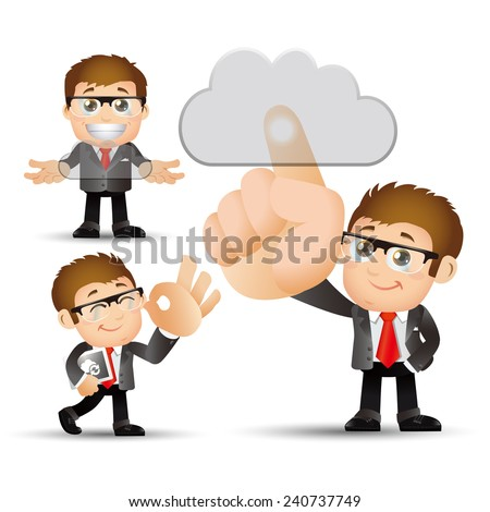 People Set - Cloud computing - 3 cloud computing men. gray cloud - stock vector