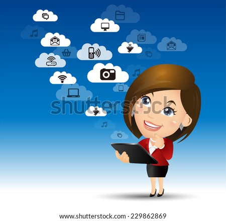 People Set - Cloud computing - cloud computing woman. blue sky - stock vector