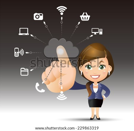 People Set - Cloud computing - cloud computing women. blue - stock vector