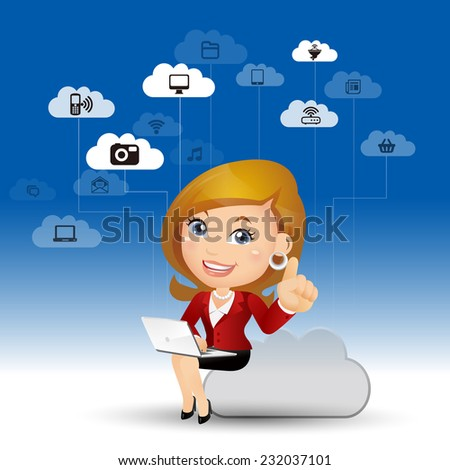 People Set - Cloud computing - cloud computing women. w cloud - stock vector