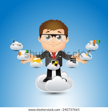 People Set - Cloud computing -Cute cloud computing businessman - stock vector
