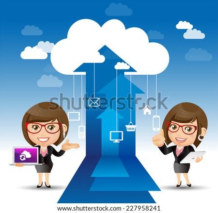 People Set - Cloud computing -Women internet concepts - stock vector