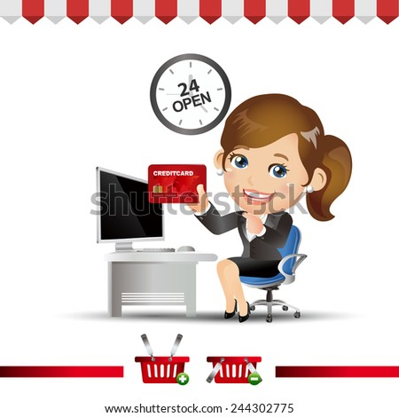 People Set - E-shopping - Businessman buy item from on-line shop and fast delivery - stock vector
