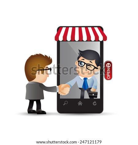 People Set - E-shopping - Businessman. E-commerce - stock vector