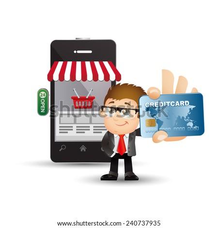 People Set - E-shopping - Businessmen. On line shopping - stock vector
