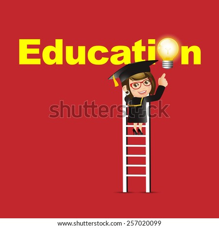 People Set - Education - Graduate student. Woman pointing education symbol - stock vector