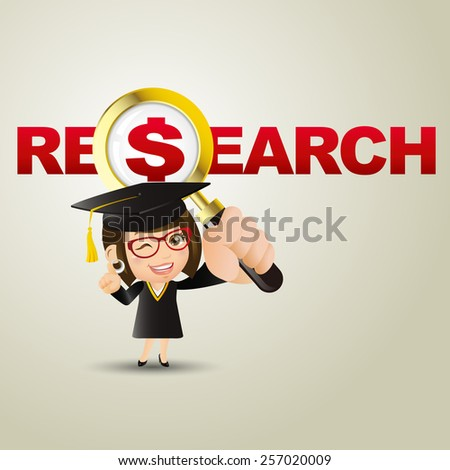 People Set - Education - Graduate student. Woman. Research and dollar - stock vector