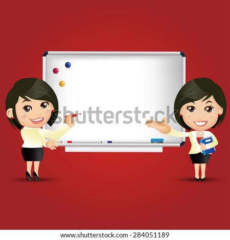 People Set - Education - Teacher. Woman. Whiteboard - stock vector