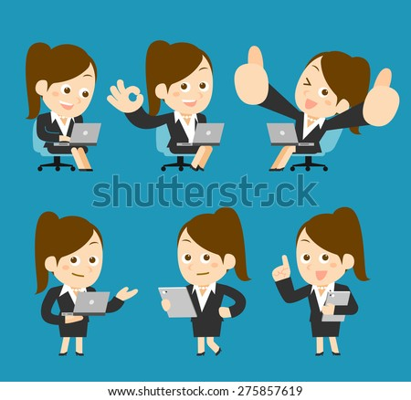 People Set for Business. Office woman with the laptop - stock vector