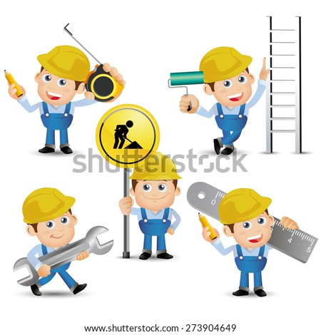 People Set - Profession - Builder with tool - stock vector