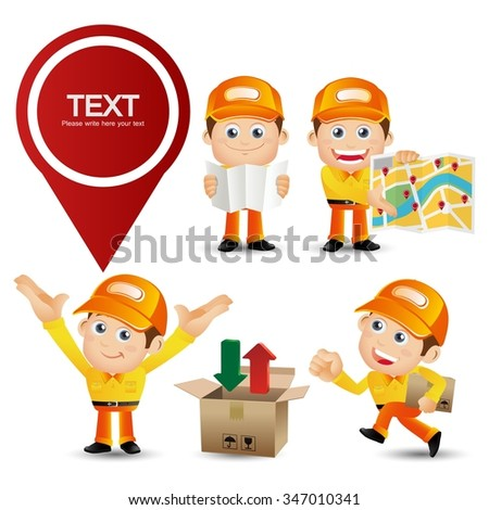 People Set - Profession - Delivery person set - stock vector
