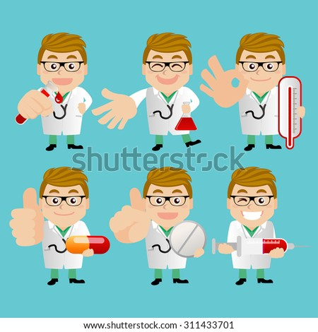 People Set - Profession - Doctor in different poses - stock vector