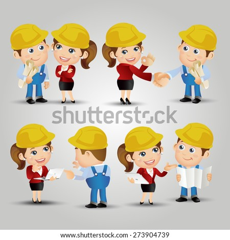 People Set - Profession - Engineers meeting connection. Female - stock vector