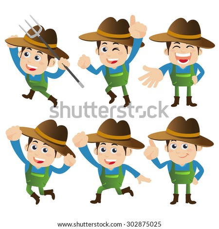 People Set - Profession - Farmer characters in different poses - stock vector
