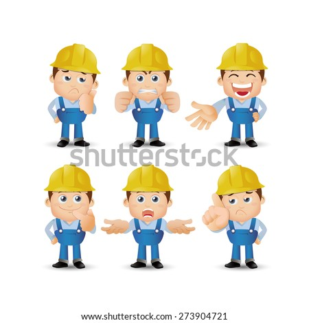 People Set - Profession - Set of builder character in different poses. emotion - stock vector