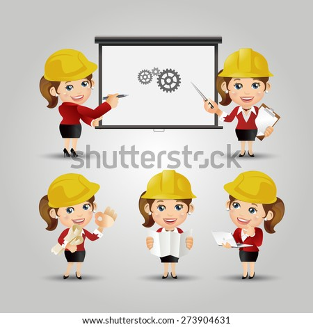 People Set - Profession - Set of Engineer in different poses. Female - stock vector