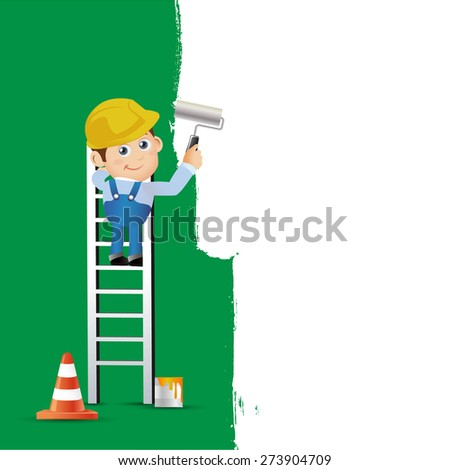 People Set - Profession - Worker Painting the text box - stock vector