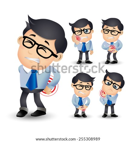 People Set - Sick - Businessman with pain and diseases - stock vector