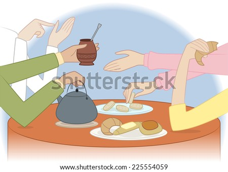 People sharing a traditional argentinian meal vector illustration - stock vector