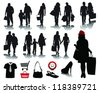 People shopping, black silhouettes with shadows and signs 2, vector - stock vector