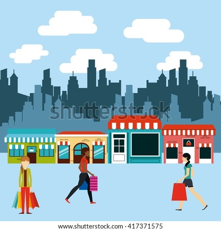 people shopping design  - stock vector