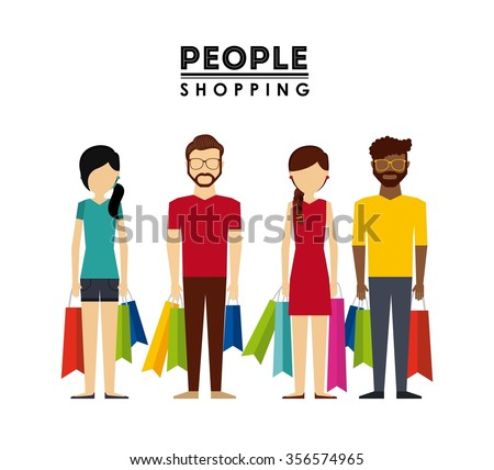 people shopping design, vector illustration eps10 graphic  - stock vector
