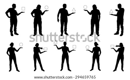 people showing silhouettes on the white background - stock vector