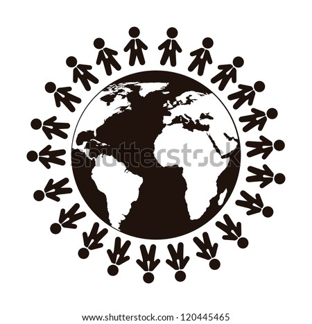 people sign over planet isolated over white background. vector - stock vector