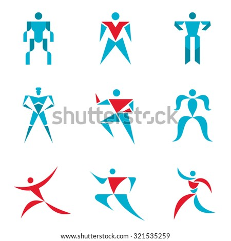 People signs - creative vector logo template collection. Abstract figures - icons set. Human character collection. Design elements.